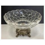 GIM Silver & crystal glass pedestal bowl