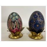 Pair of vintage handpainted eggs in brass stands