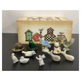 Lot of 12 vintage miniatures in wood birdhouse box