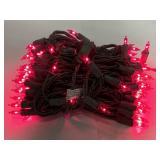 Indoor/outdoor pink string lights w/brown cord