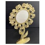 Gold toned flower earring stand w/ mirror