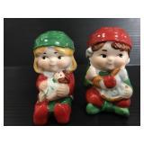 Vintage Avon Christmas boy & girl shakers