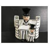 Vintage people with top hat planter