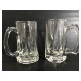 Two glass mugs