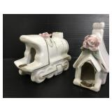 Porcelain train and house ashtrays