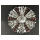 Pressed and cut glass serving tray