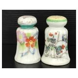 Two hand painted ceramic salt/ pepper shakers