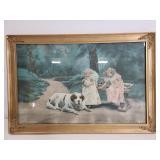 Vintage framed girls & dog print