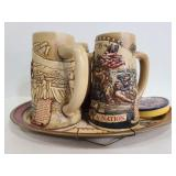 Muller High Life Beer steins, tray & coasters