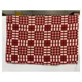 Vintage red checked terry picnic blanket