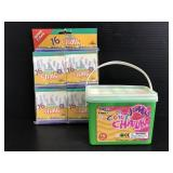 Lot of new white & colored sidewalk chalk