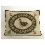 Vintage needlepoint bird throw pillow