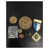 Vintage medallion, pins and medal