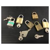 Six small locks with keys