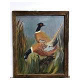 Vintage folk art pheasant painting