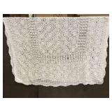 White lace like rectangular tablecloth