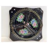 Divided black floral painted dish