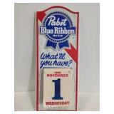 Vintage Pabst Blue Ribbon day calendar 1989