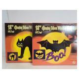 Glowing Moon Black cat & bat window sculptures