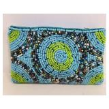 Beaded & lined wallet ard holder coin pouch