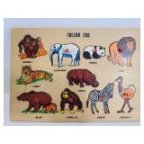 Vintage Toledo Zoo wood animal puzzle