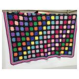 Hand crocheted granny square blanket