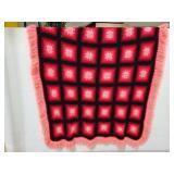 Hand crocheted granny square blanket w/ fringe