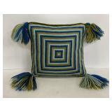 Vintage embroidered velvet tassel pillow