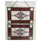 Pair of matching leaded stained glass windows