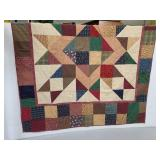 Signed hand sewn reversible patchwork quilt