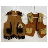 Vintage Lone Ranger & suede cowboy childs vests