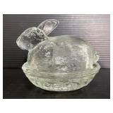 Clear glass rabbit hen on a nest dish w/ lid