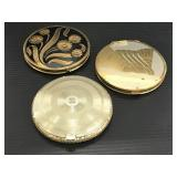 Lot of 3 large Art Deco vintage cosmetic compacts