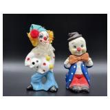 Two ceramic clown figures