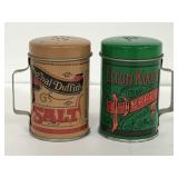 Pair of tin salt and pepper shakers with handles