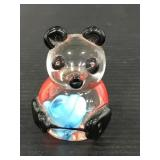 Glass colorful panda bear paper weight