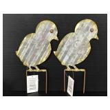 Two metal chick yard stakes with tags
