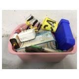 Basket of assorted work supplies