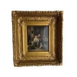 Antique oil on canvas painting in gilt frame