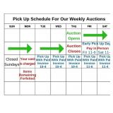 Pick up schedule for each auction
