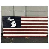 Huge 6 ft handcrafted cedar wood American flag