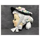 Ucagco lady head w/ hat ceramic wall pocket