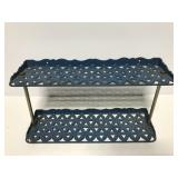Vintage small blue metal two tiered shelf