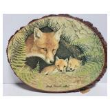 Wood slab fox plaque art from South Branch,Mi