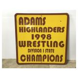 Metal Adam Highlanders wrestling sign