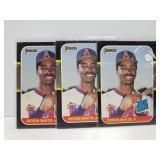 1986 Devon white baseball card trio with misprint