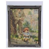 Vintage framed boy fishing print