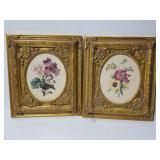 Ornate framed floral prints pair