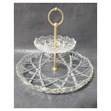 Two-tiered glass serving dish