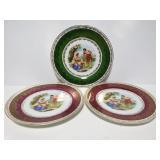 Three vintage gilded plates